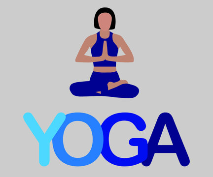 Vector logotype of yoga girl in meditation pose in blue colors. Yoga club.