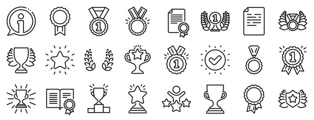 Fototapeta Set of Winner medal, Victory cup and Laurel wreath award icons. Award line icons. Reward, Certificate and Diploma message. Glory shield, Prize winner, rank star, diploma certificate. Vector obraz