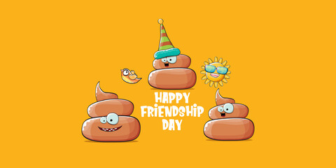 Happy friendship day horizontal banner or greeting card with vector funny cartoon poo friends characters isolated on abstract orange background. Best friends concept
