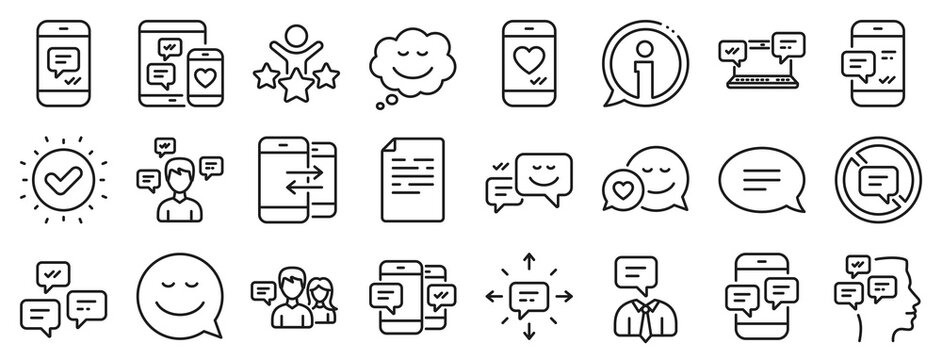 Group chat, Conversation and Speech bubbles icons. Message sms and Communication icons. SMS communication, Phone chat and Stop talking symbols. Conversation group, smartphone message, info. Vector
