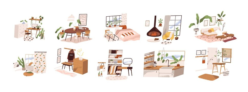 Set of stylish mid century scandinavian apartment design interiors. Cozy furnished living room, homey bedroom, hygge kitchen, hallway. Flat vector cartoon illustration isolated on white background
