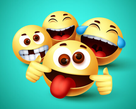 Emoji smiley funny friends taking selfie vector characters. Smiley emoji of friendship emoticon in happy smiling, silly, funny and crazy facial expression in green background. Vector illustration.