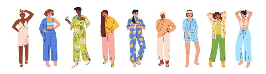 Trendy young women set wearing cozy home clothes, homewear. Multicultural cute girls in various comfortable pajamas, nightgown, sleepwear. Flat vector cartoon illustration isolated on white background