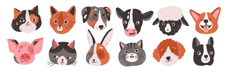 Set of happy funny domestic animals or farm pet. Different faces, muzzles, heads or avatars. Cats, dogs, sheep, cow, pig, rabbit or hare. Flat vector cartoon illustration isolated on white background