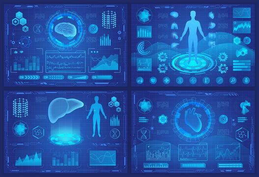 Medical futuristic vr hologram vector illustrations. Cartoon flat blue design template interface set for medicine of future ui screen with digital human organs, heart brain liver dashboard collection