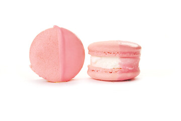 macarons with ice cream inside on a white background in the studio