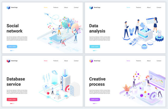 Isometric data analysis of social media network technology vector illustrations. Creative 3d modern concept webpage banner set with cloud office database analyzing service, internet tech analytics