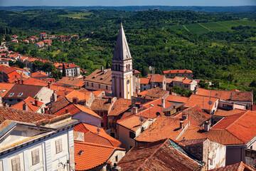 Wall Mural - panoramic view of  Buje town, Croatia.