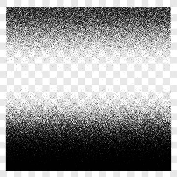 Grunge gradient spray halftone and stipple transparent texture vector set, sand grainy texture background or distress horizontal up and down backdrop