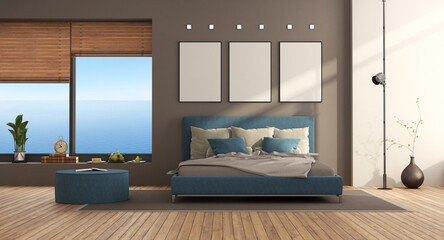 Blue and brown modern bedroom