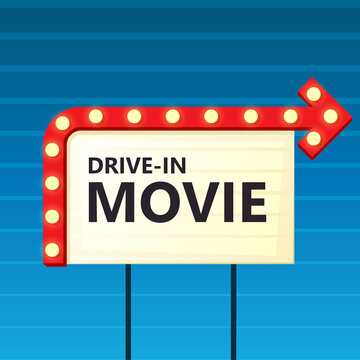 Drive-in movie theater sign. Clipart illustration