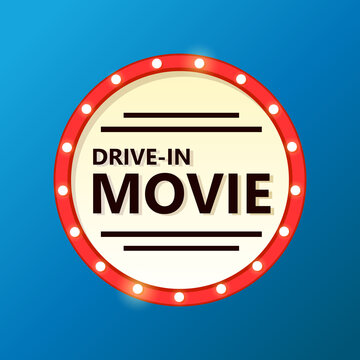 Drive in movie theater sign. Clipart image