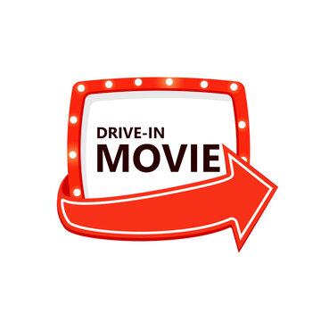 Drive-in movie icon. Marquee frame with arrow. Clipart image isolated on white background