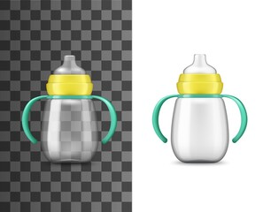 Baby bottle milk feeding, realistic mockup, vector 3D. Newborn and kids care, milk feeding baby bottle with child nutrition liquid, pacifier, yellow cap, green handles and volume measure scale