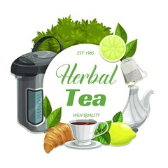 Herbal tea with lemon and mint leaves flavor, vector hot drinks and herbs. Lemon or lime citrus and mint herbal green or black tea in porcelain teapot with sugar and croissant dessert