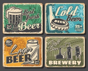 Beer brewery retro posters, alcohol drinks bar, vector Oktoberfest vintage signs or grunge metal plates. Craft beer brewery pub, brewing traditions, beer in wooden barrel, bottle and pint mug