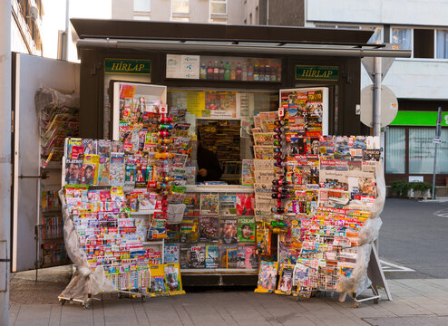 GYOR, HUNGARY - NOVEMBER, 3, 2017: Newsstand with fresh newspapers in Hungarian in the center of Gyor, Hungary.