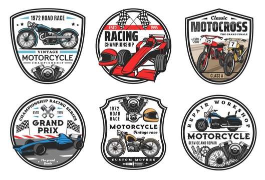 Racing sport icons, motocross and cars races championship cup emblems, vector. Motorcycle racing and motor sport cars rally or speedway club team, wheel, sportcar racetrack and finish flag signs