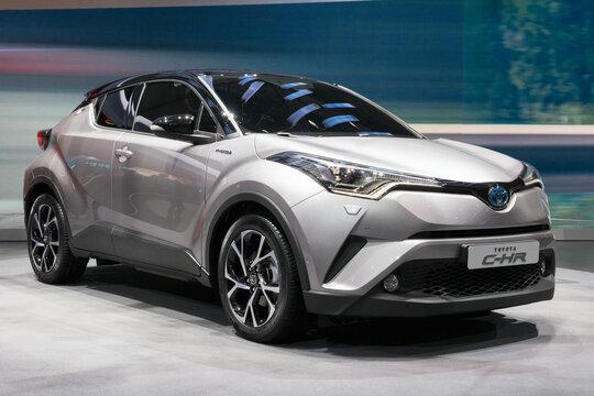 GENEVA, SWITZERLAND - MARCH 1, 2016: Toyota C-HR crossover SUV car showcased at the 86th Geneva International Motor Show.