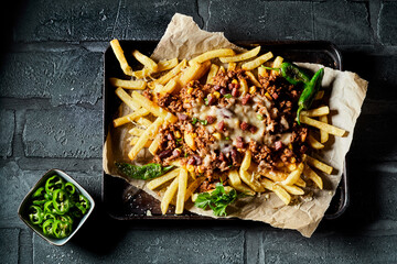 Serving of potato fries with cheese and mince meat