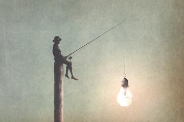 Ilustracja z człowiekiem z żarówką