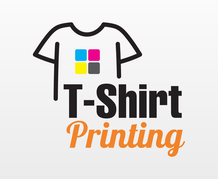 Abstract modern colored vector logo template of t-shirt printing. For typography, print, corporate identity, workshop, branding, factory, serigraphy, isolated on white  background.
