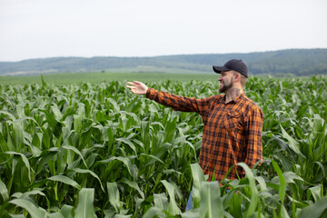 Happy young farmer points to a field of green corn. Organic agriculture