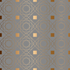 Abstract vector geometric seamless pattern. Gray background.