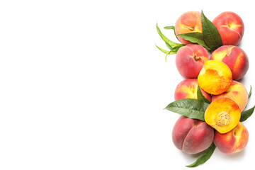 Foto op Canvas Europa Many ripe peaches on light background