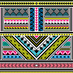 Polynesian tattoo seamless vector colorful pattern, Hawaiian tribal design inspired by art traditional geometric art from islands on Pacific Ocean