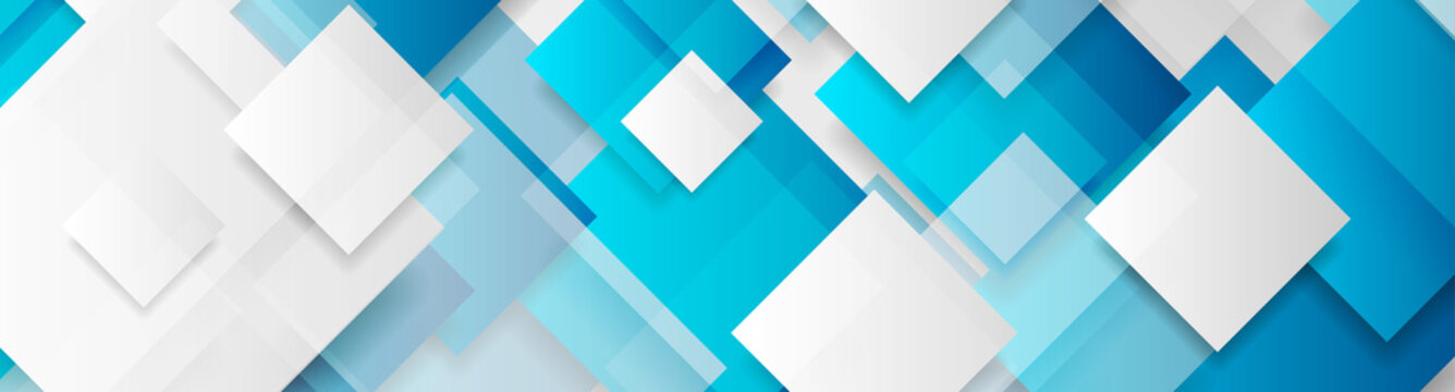 Blue and grey glossy squares abstract tech banner design. Geometric vector background