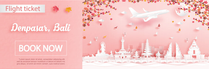 Fototapete - Flight and ticket advertising template with travel to Denpasar, Bali. Indonesia in autumn season deal with falling maple leaves and famous landmarks in paper cut style vector illustration