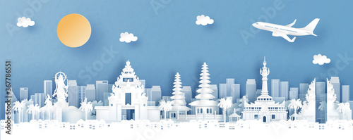 Fototapete Panorama view of Denpasar, Bali. Indonesia with temple and city skyline with world famous landmarks in paper cut style vector illustration