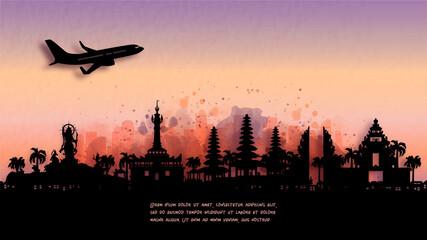 Fototapete - Watercolor of Denpasar, Bali. Indonesia silhouette skyline and famous landmark. vector illustration.