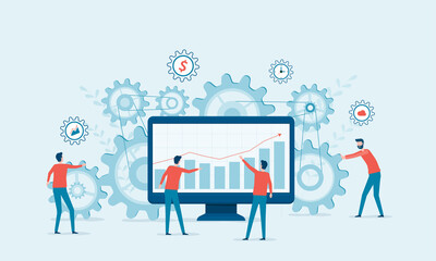Flat vector illustration design concept Business process and business team working together building for start up business. With gears and performance monitoring graph.