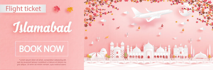 Fototapete - Flight and ticket advertising template with travel to Islamabad, Pakistan in autumn season deal with falling maple leaves and famous landmarks in paper cut style vector illustration