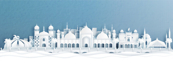 Fototapete - Panorama view of Islamabad, Pakistan skyline with world famous landmarks of Indonesia in paper cut style vector illustration.