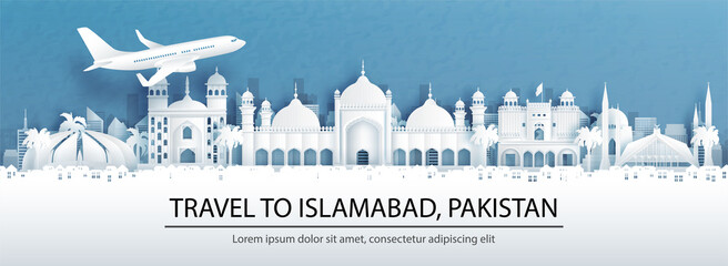 Fototapete - Travel advertising with travel to Islamabad, Pakistan concept with panorama view of city skyline and world famous landmarks in paper cut style vector illustration.