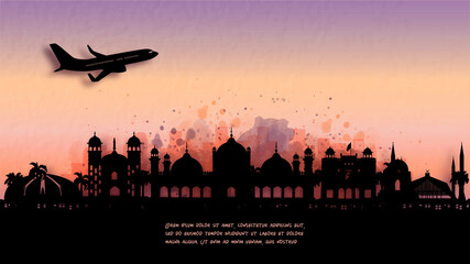 Fototapete - Watercolor of Islamabad, Pakistan silhouette skyline and famous landmark. vector illustration.