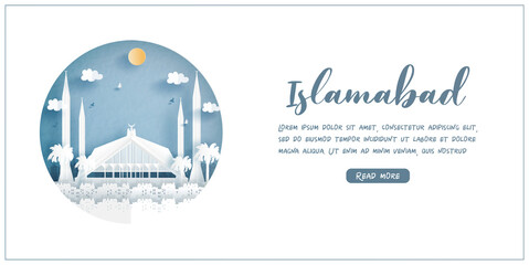 Fototapete - Shah Faisal Mosque, Islamabad. Pakistan's world famous landmark with white frame and label. Travel postcard and poster, brochure, advertising Vector illustration.