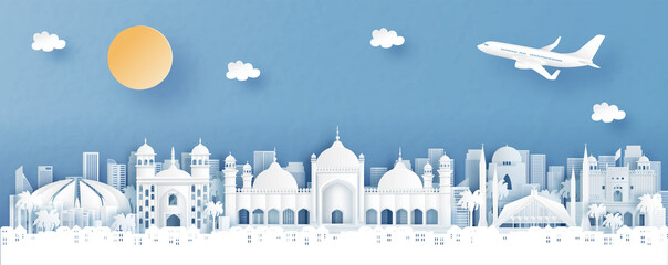 Fototapete - Panorama view of Islamabad, Pakistan with temple and city skyline with world famous landmarks in paper cut style vector illustration
