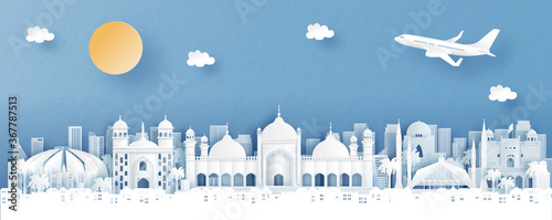 Fototapete Panorama view of Islamabad, Pakistan with temple and city skyline with world famous landmarks in paper cut style vector illustration