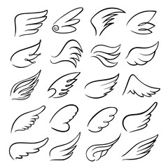 Wings icon set bird drawing in motion vectorimage Line, Angel, Black, Tattoo, Dove, Icon, Bird, Set, Drawing, Wings