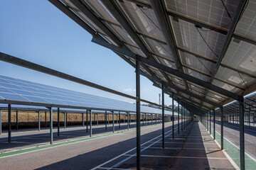A car park converted into an installation of solar panels to convert into electricity.