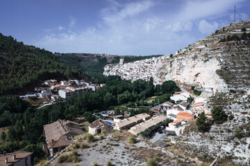 Alcala del Jucar city seen from the top of the mountain.