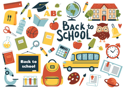 Back to school element set. Perfect for banner,  poster, tag, sticker kit, scrapbooking. Vector illustration
