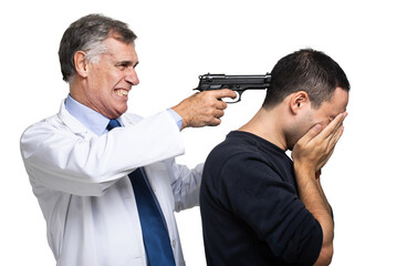 Doctor pointing a gun to his incurable patient