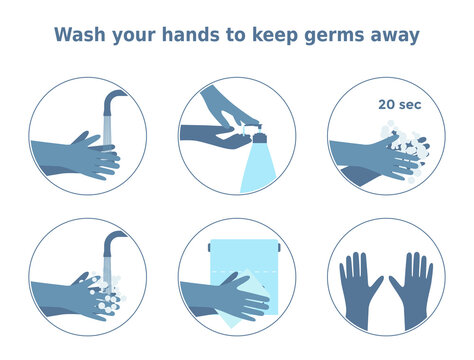Vector illustration 'Wash your hands to keep germs away'. Set of 6 icons of washing hands step by step. Handwashing infographic for health posters, memos, banners.