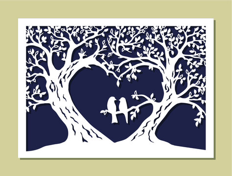 Valentines card. Trees silhouette. The wedding wish tree in the shape of a heart with couple bird. Variant of design of your family tree. Suitable for laser cutting. Die cut vector illustration.