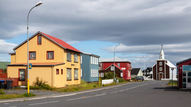 EYRARBAKKI, ICELAND - JULY 28, 2017. Traditional wooden houses in an old fishing town in Southern Iceland.